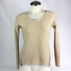 Bar III Long Sleeve Zipper Sweater Size XS Tan